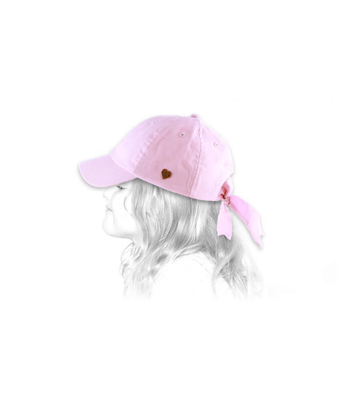 Casquette fille rose nœud
