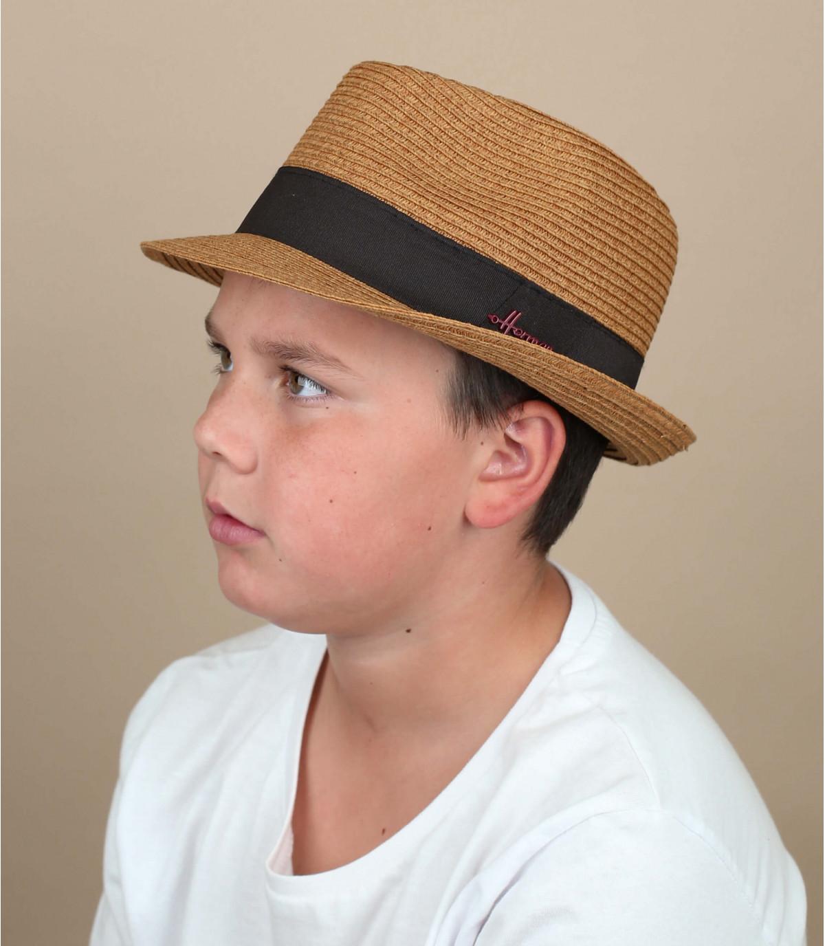 chapeau paille enfant marron