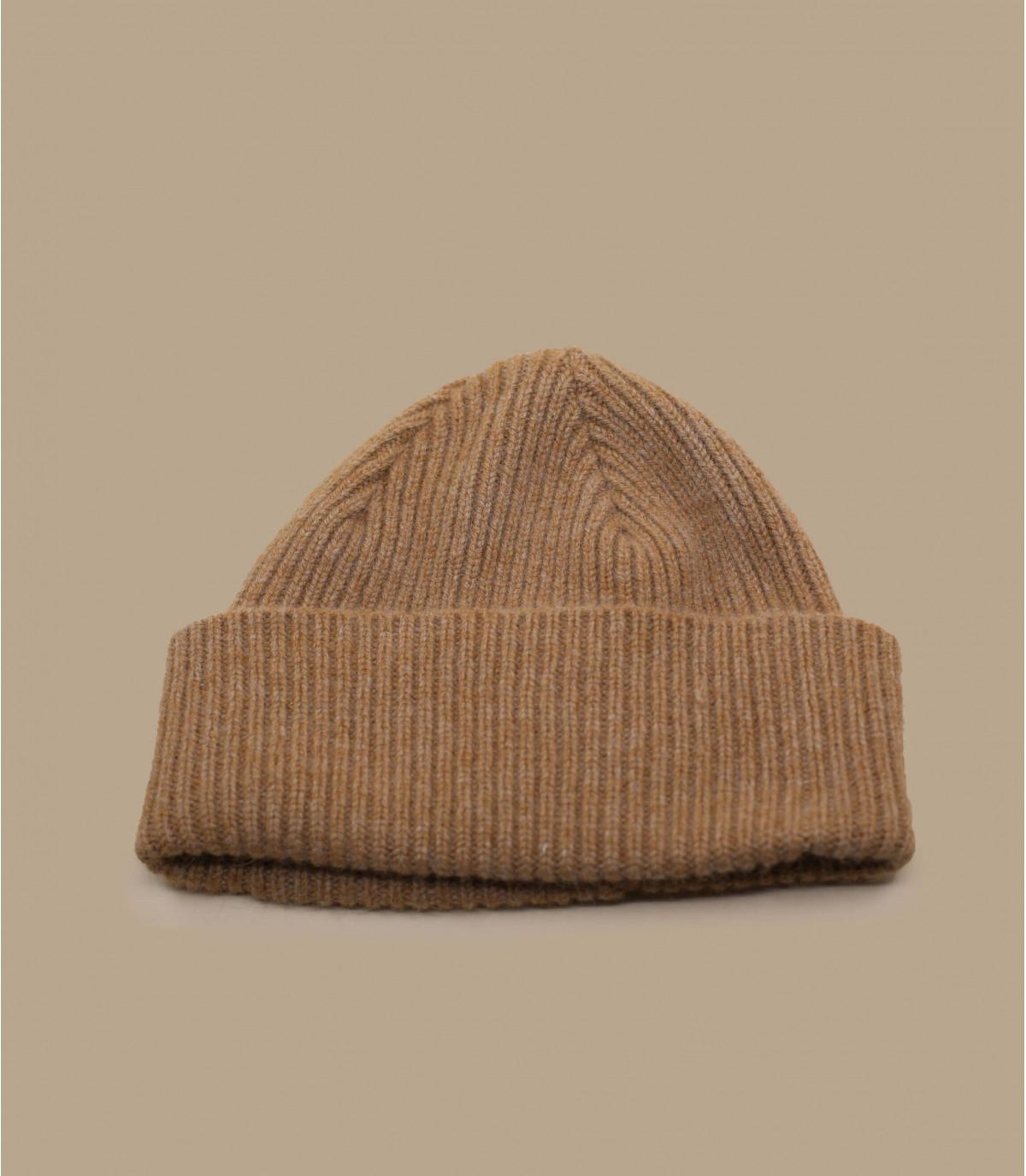 bonnet revers beige laine angora