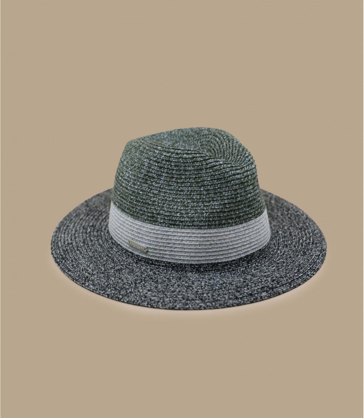 chapeau paille noir rayure grise