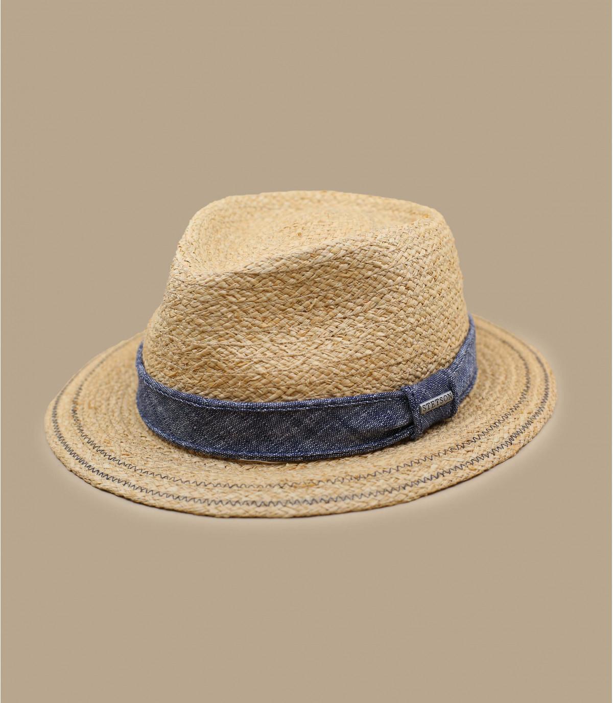 chapeau paille ruban denim