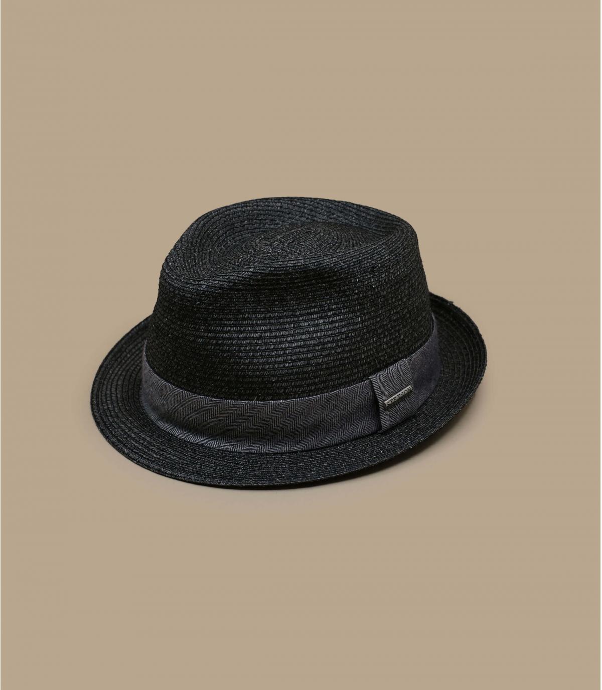 Chapeau paille noir gris homme