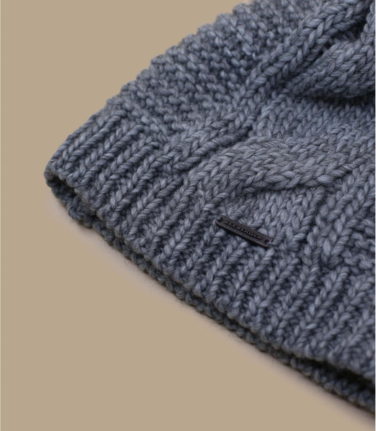 Détails Bonnet long pompon gris - image 3