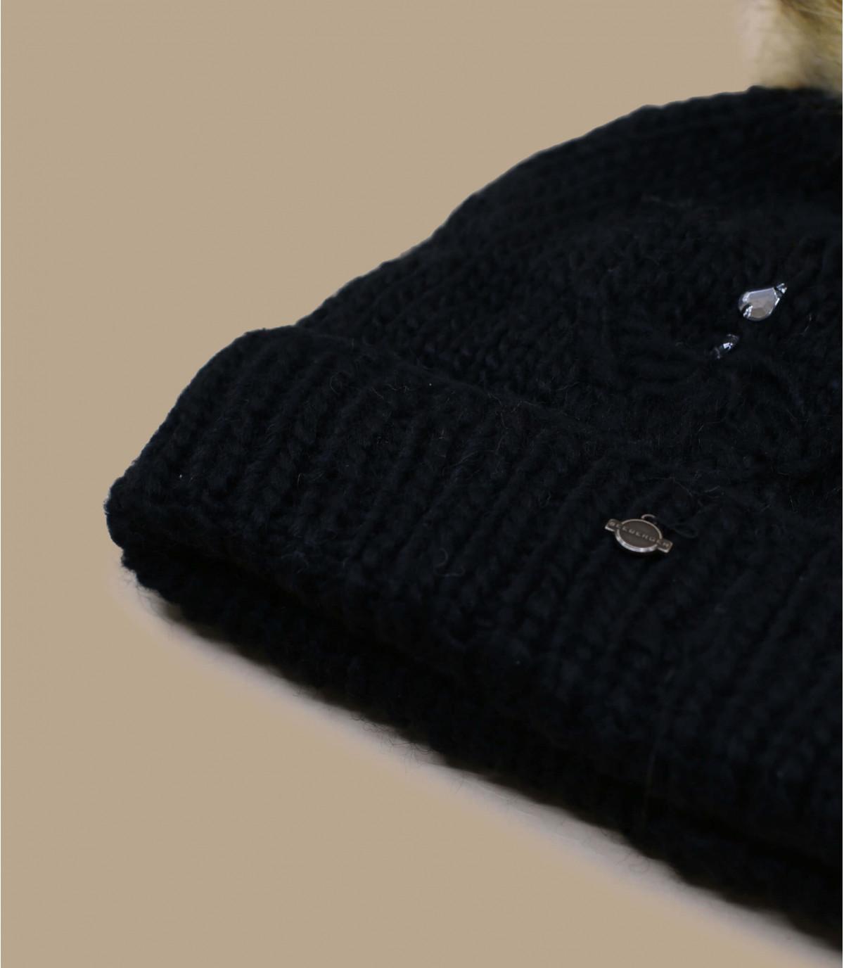 Détails Bonnet Pompon Strass noir - image 3