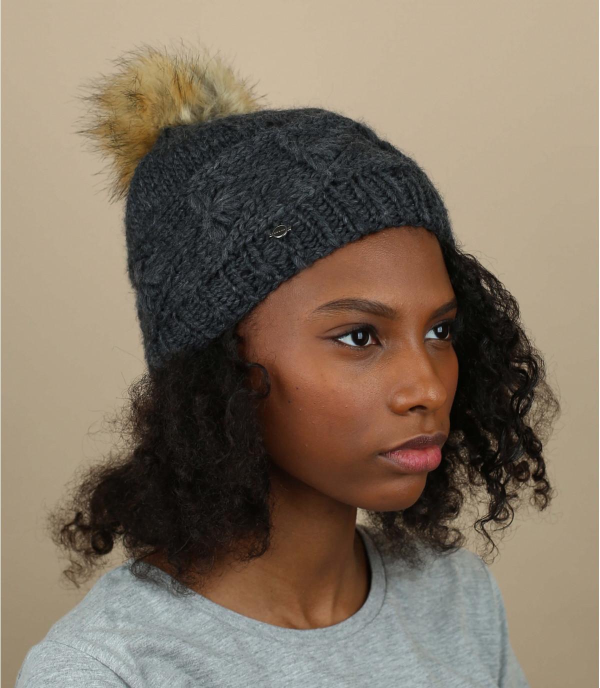 bonnet pompon gris Seeberger