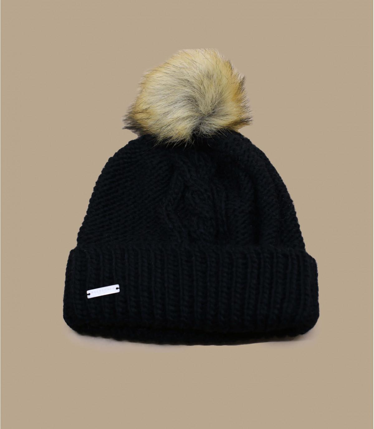 bonnet revers noir pompon bonnet pompon mia noir par seeberger headict. Black Bedroom Furniture Sets. Home Design Ideas