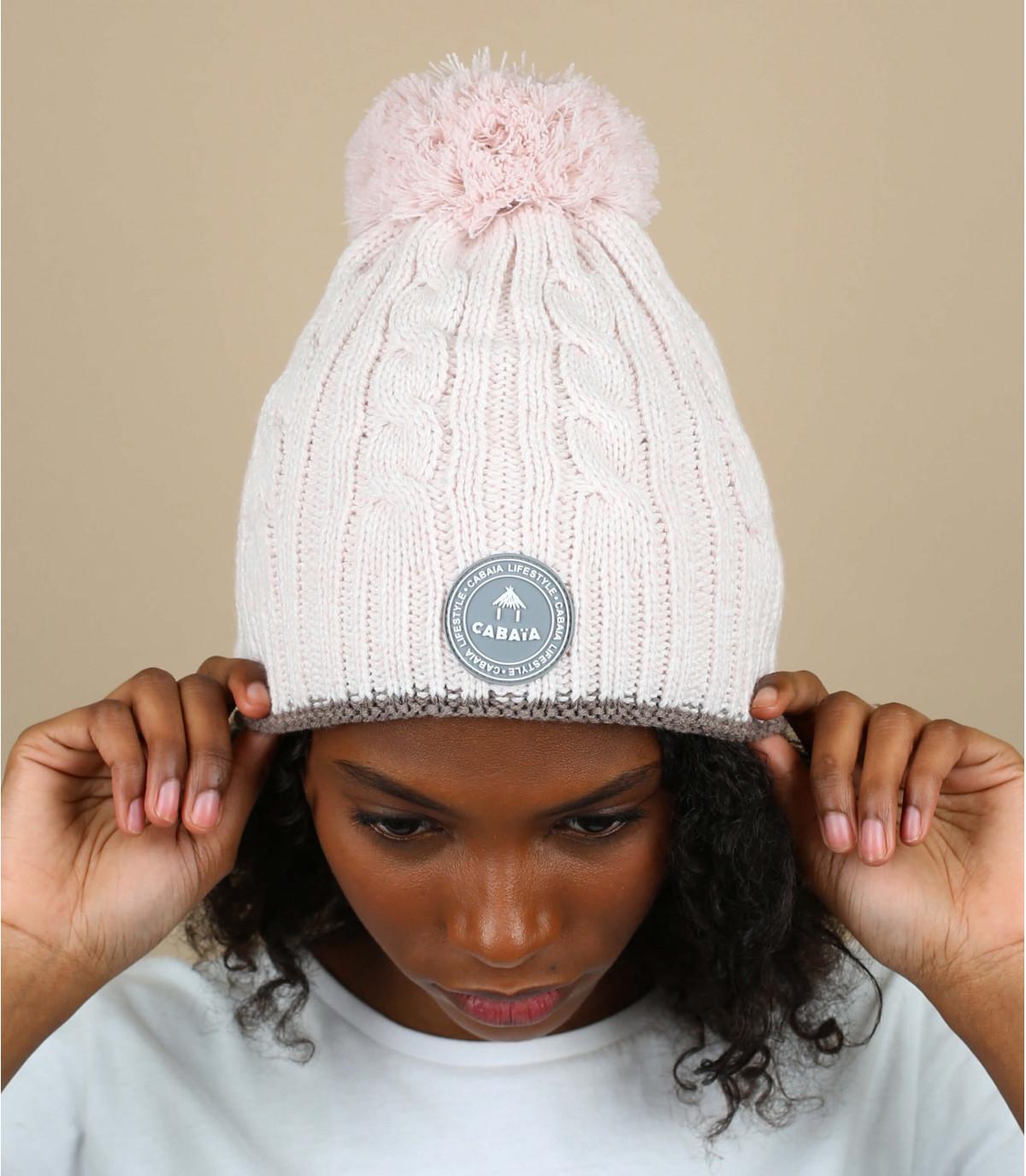 bonnet torsade pompon rose