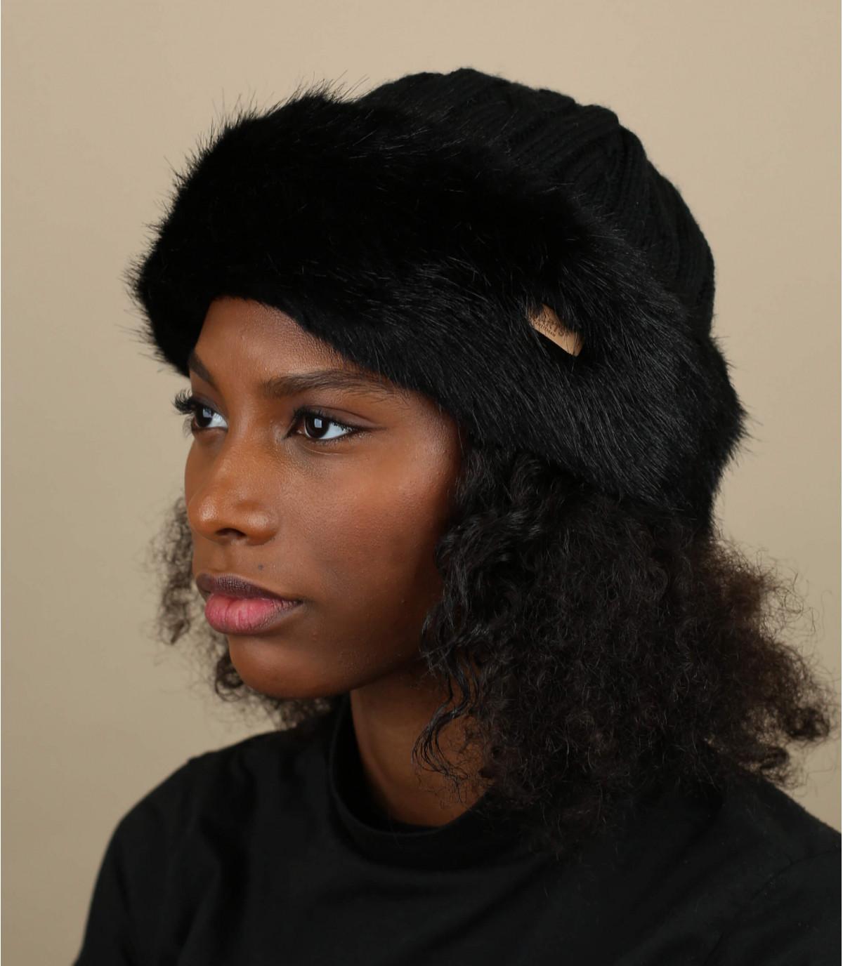 Bonnet bande fourrure noire