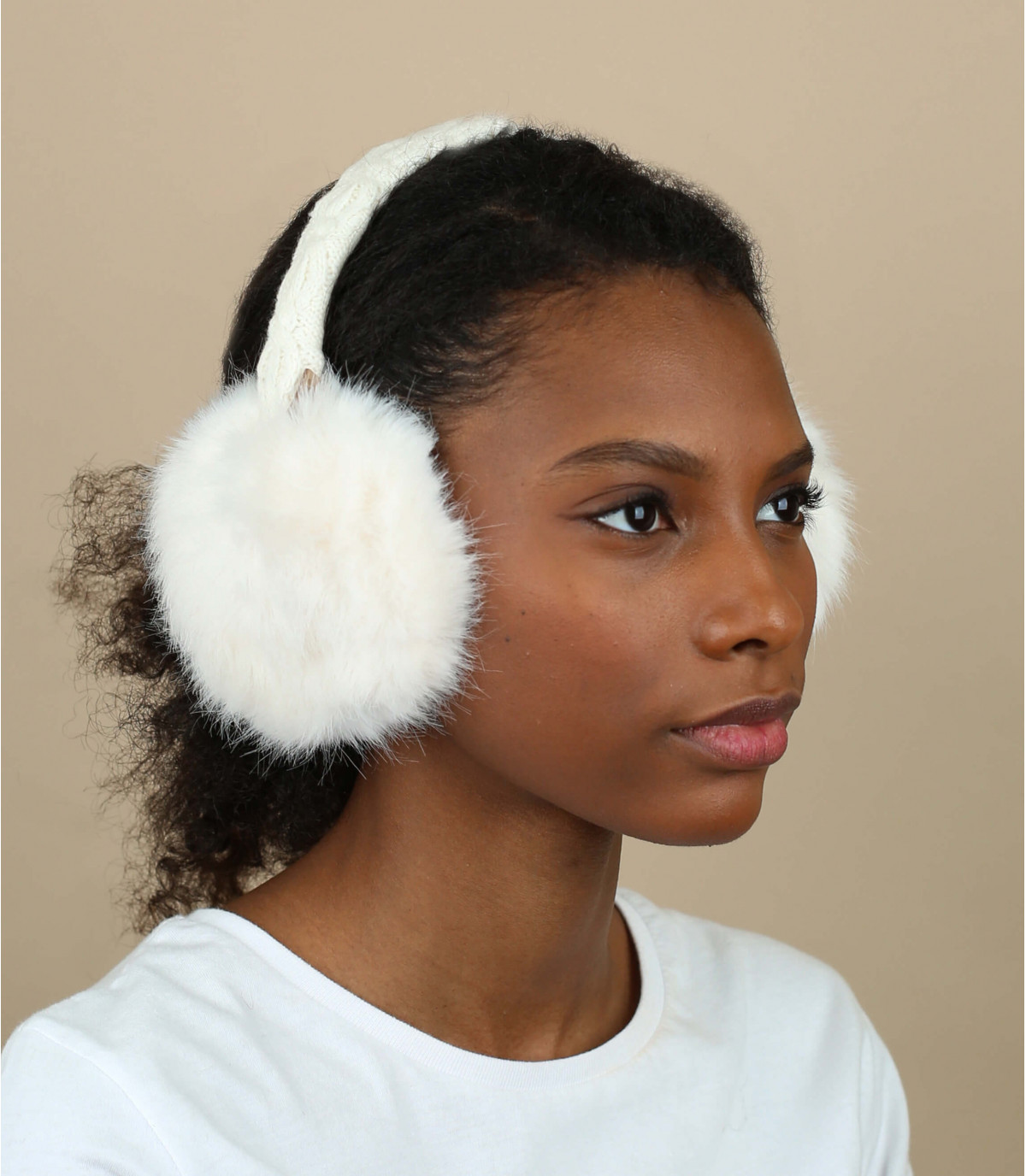 Cache oreilles fourrure blanc