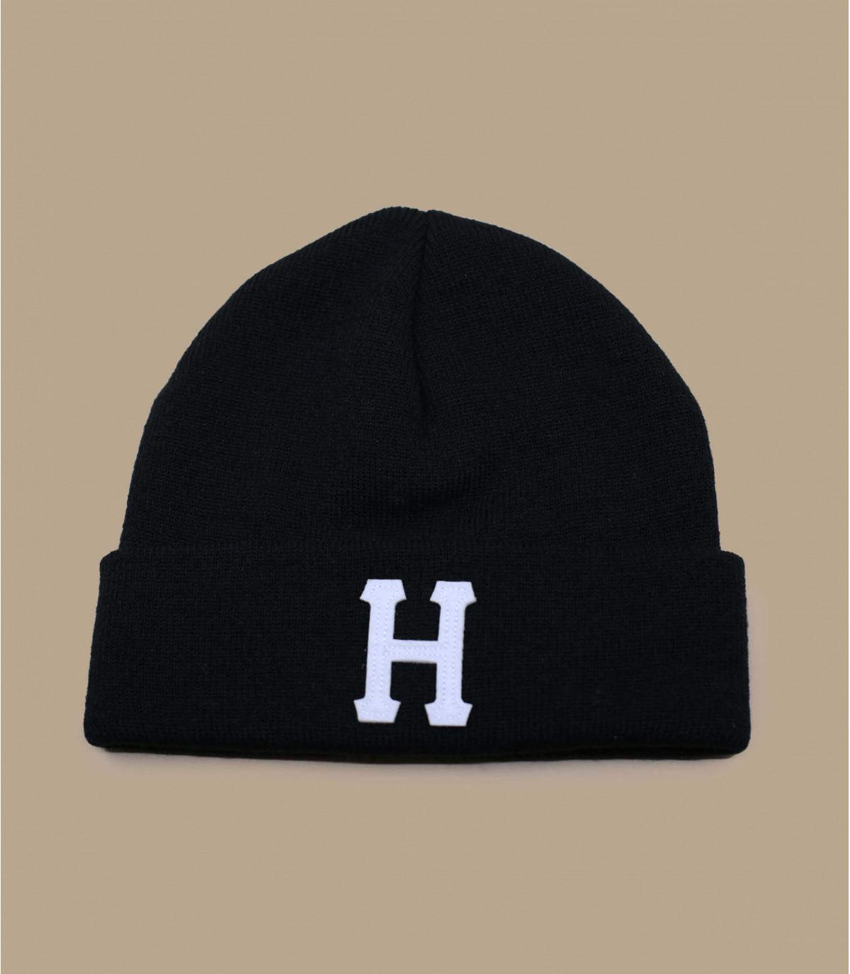 bonnet revers H noir