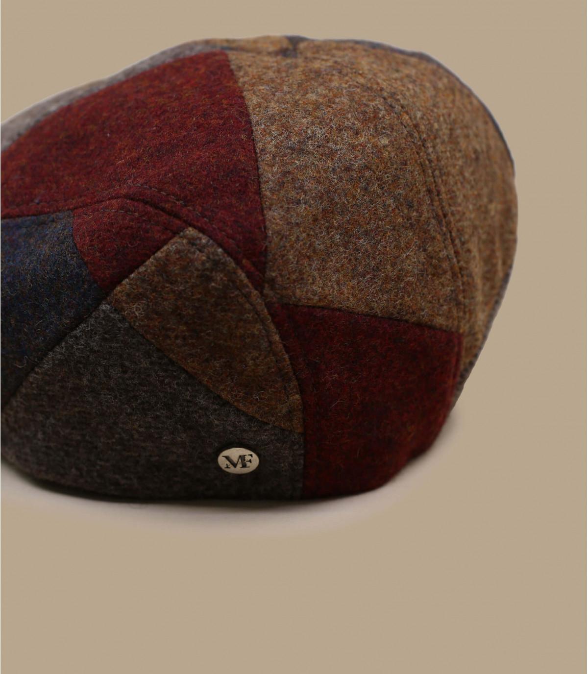 béret patchwork rouge brun