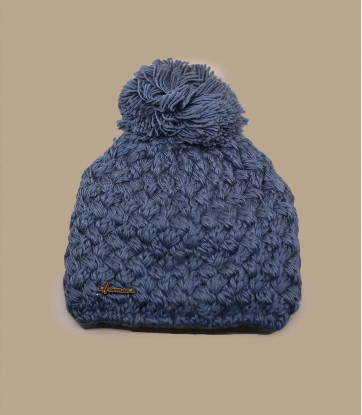 bonnet laine gris pompon