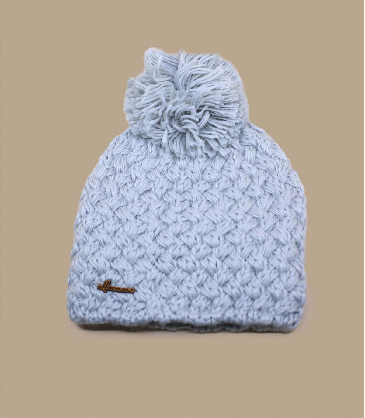 bonnet gris perle pompon