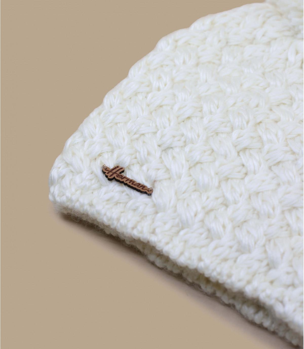 bonnet blanc pompon laine