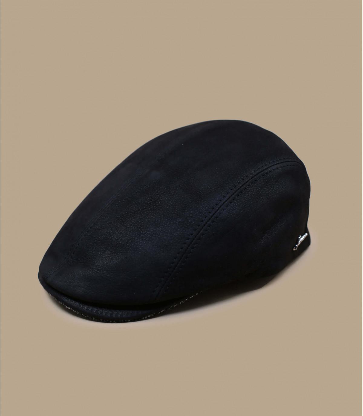 béret cuir noir Herman