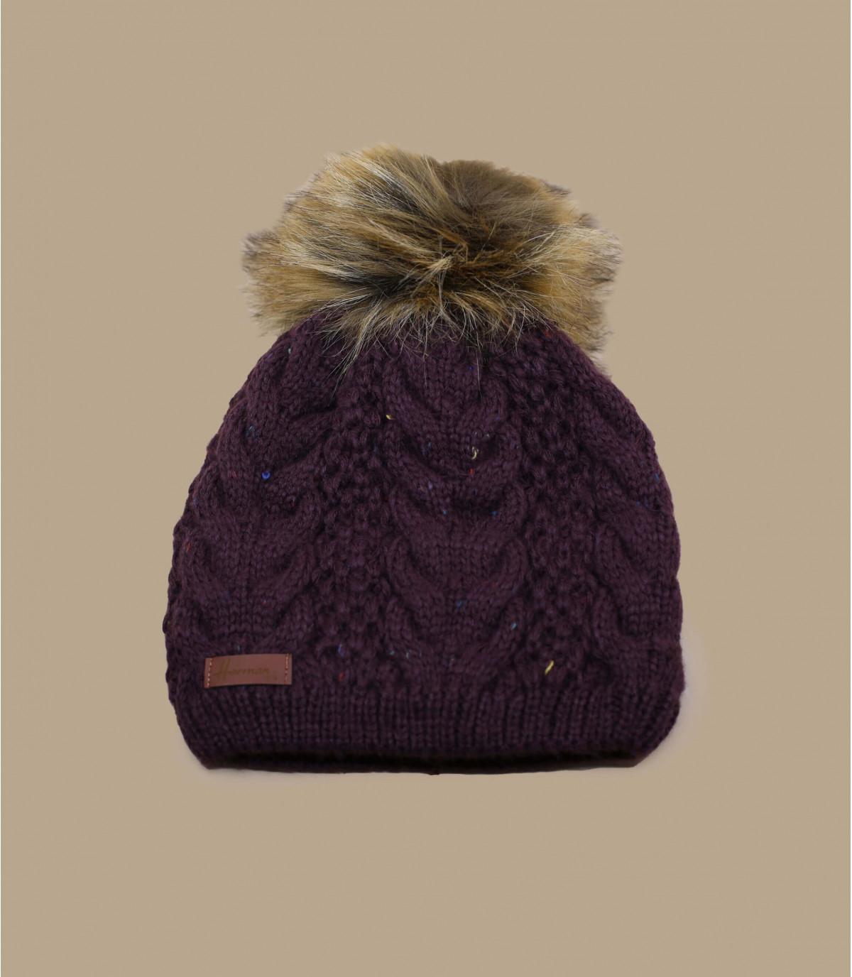 bonnet violet pompon fourrure