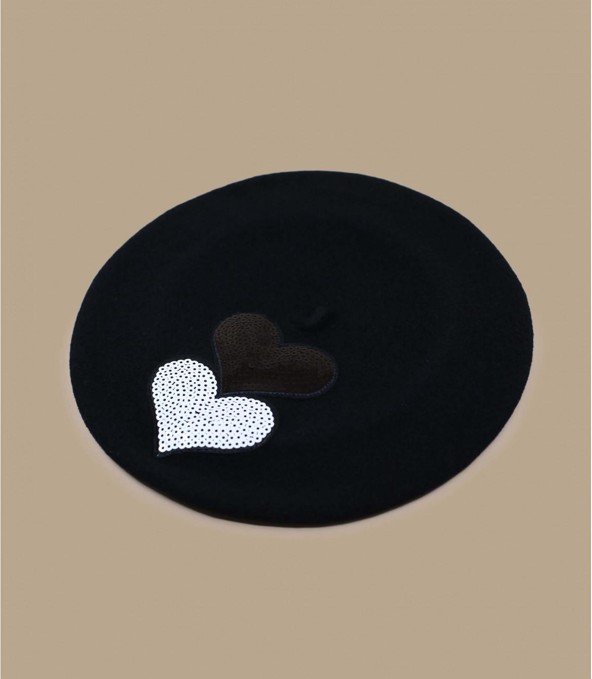 béret cœur paillette noir