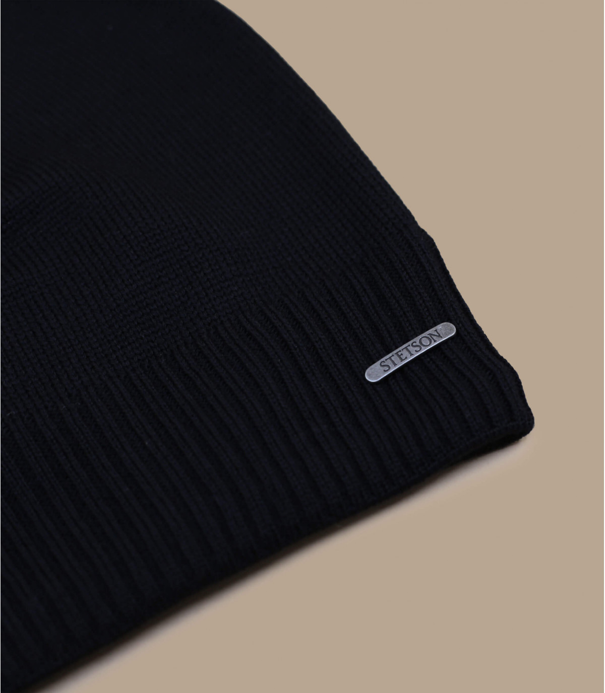 bonnet long noir laine mérinos