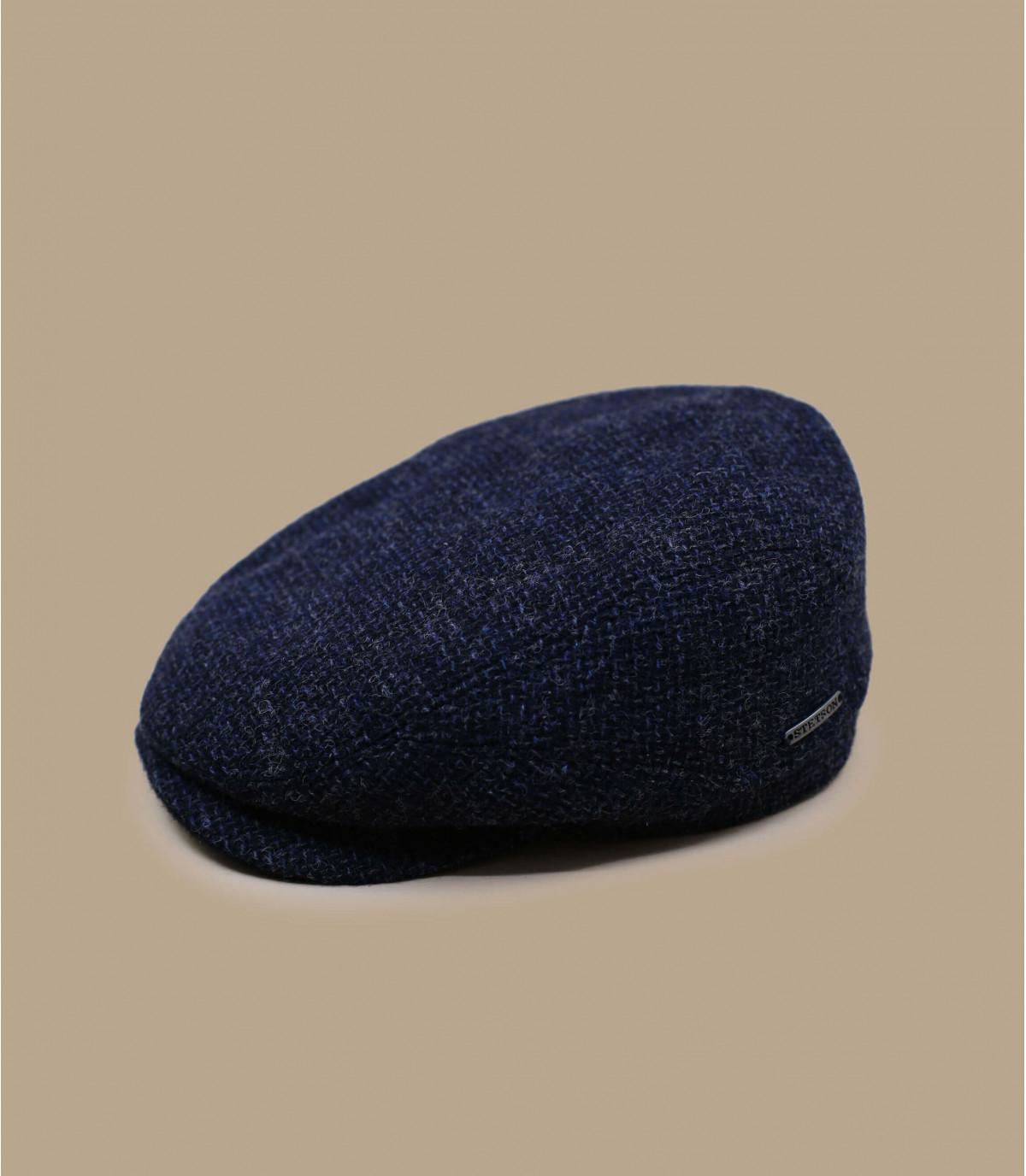 casquette plate laine bleu