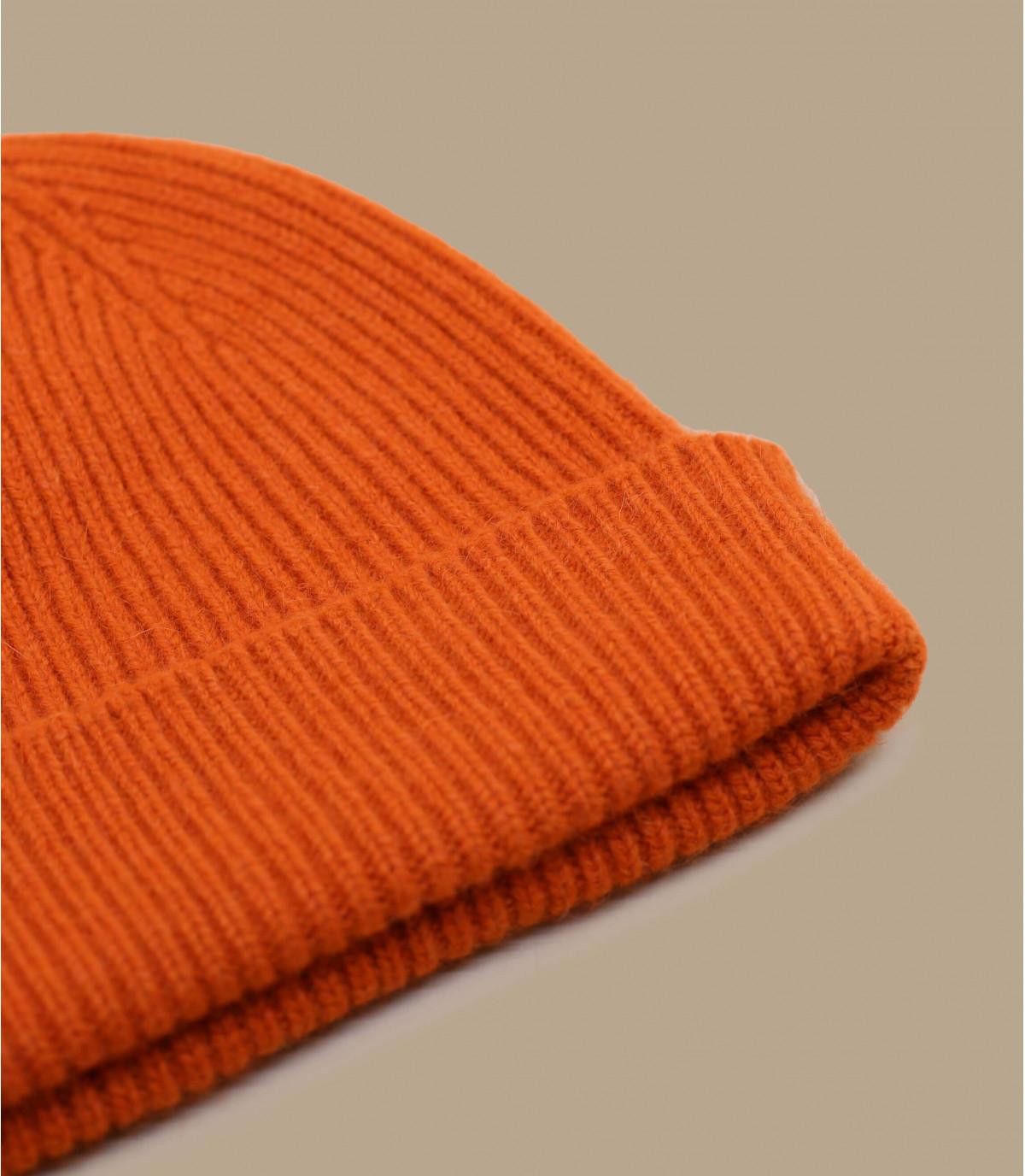 bonnet revers orange laine angora