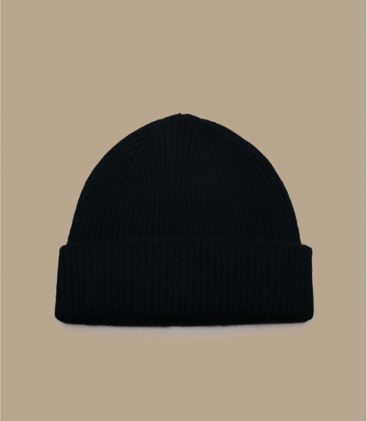 bonnet revers laine angora noir