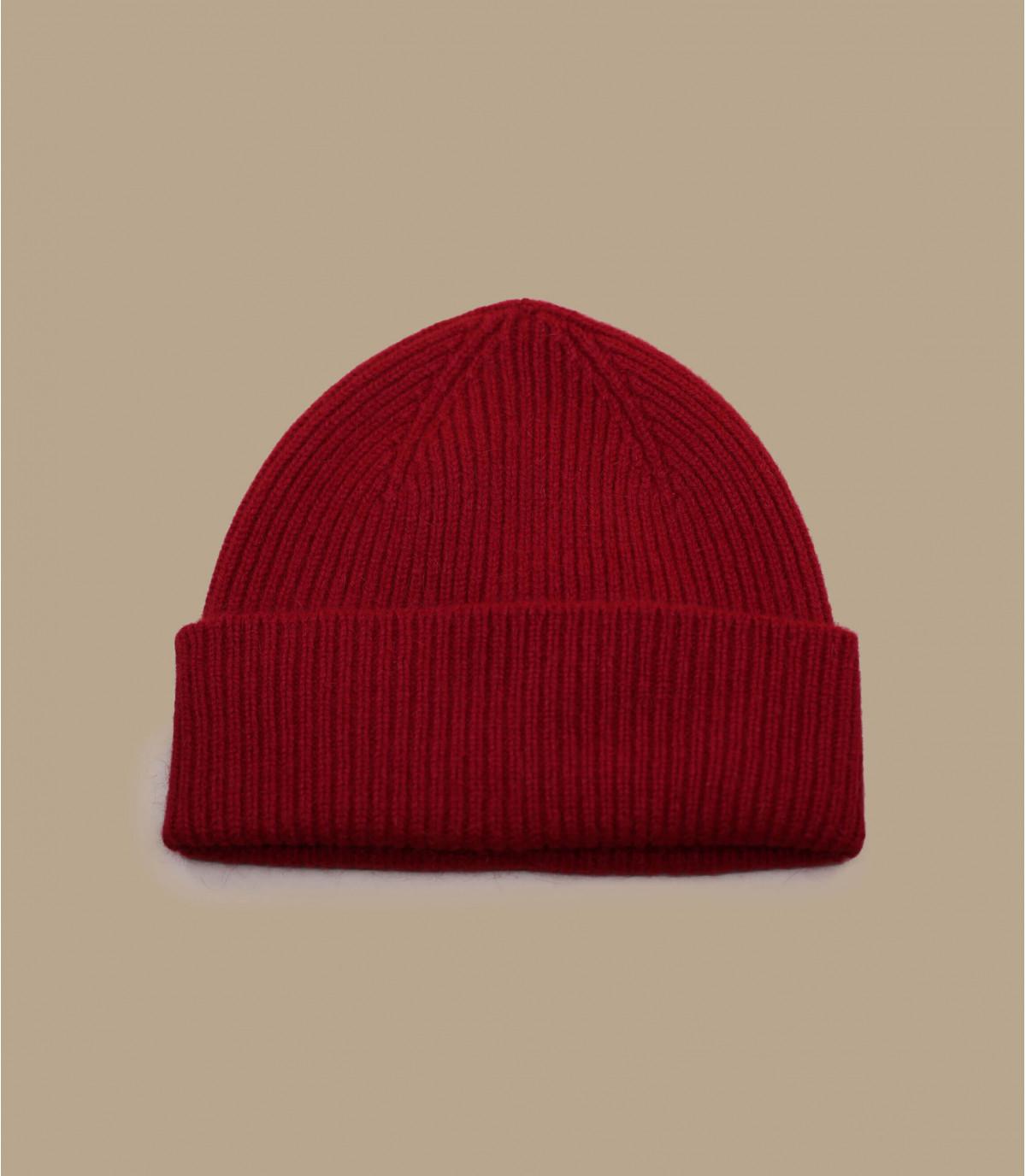 bonnet revers rouge laine angora
