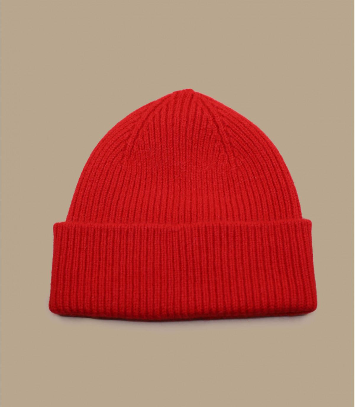 bonnet revers laine angora rouge