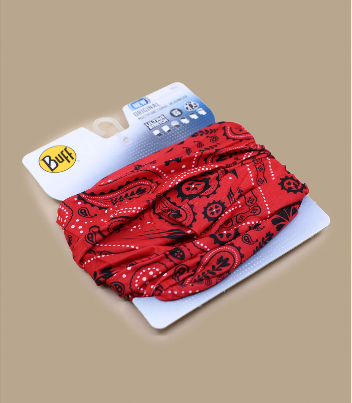 Buff rouge imprimé bandana