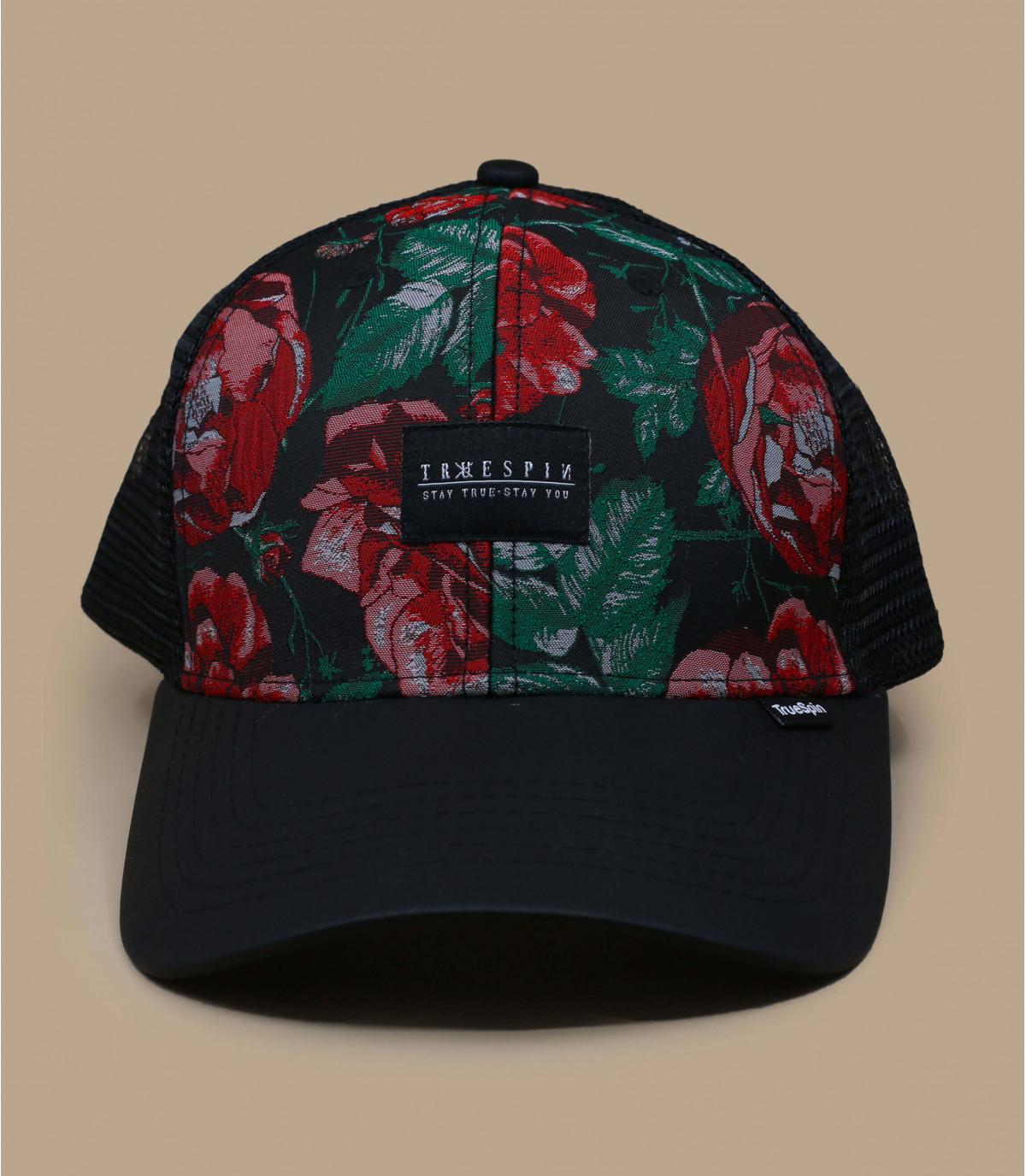 trucker noir motif roses