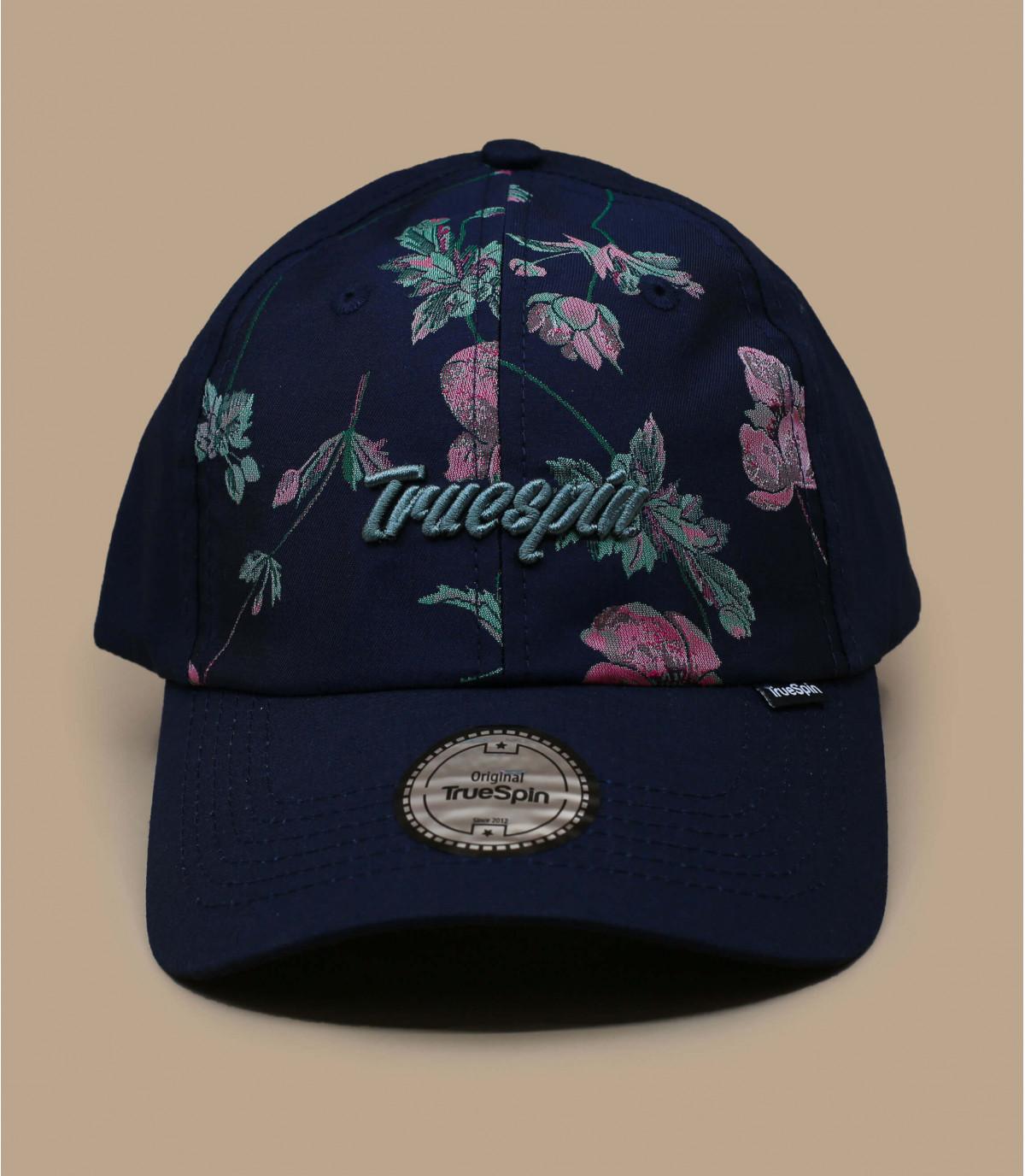 casquette bleu motif fleur