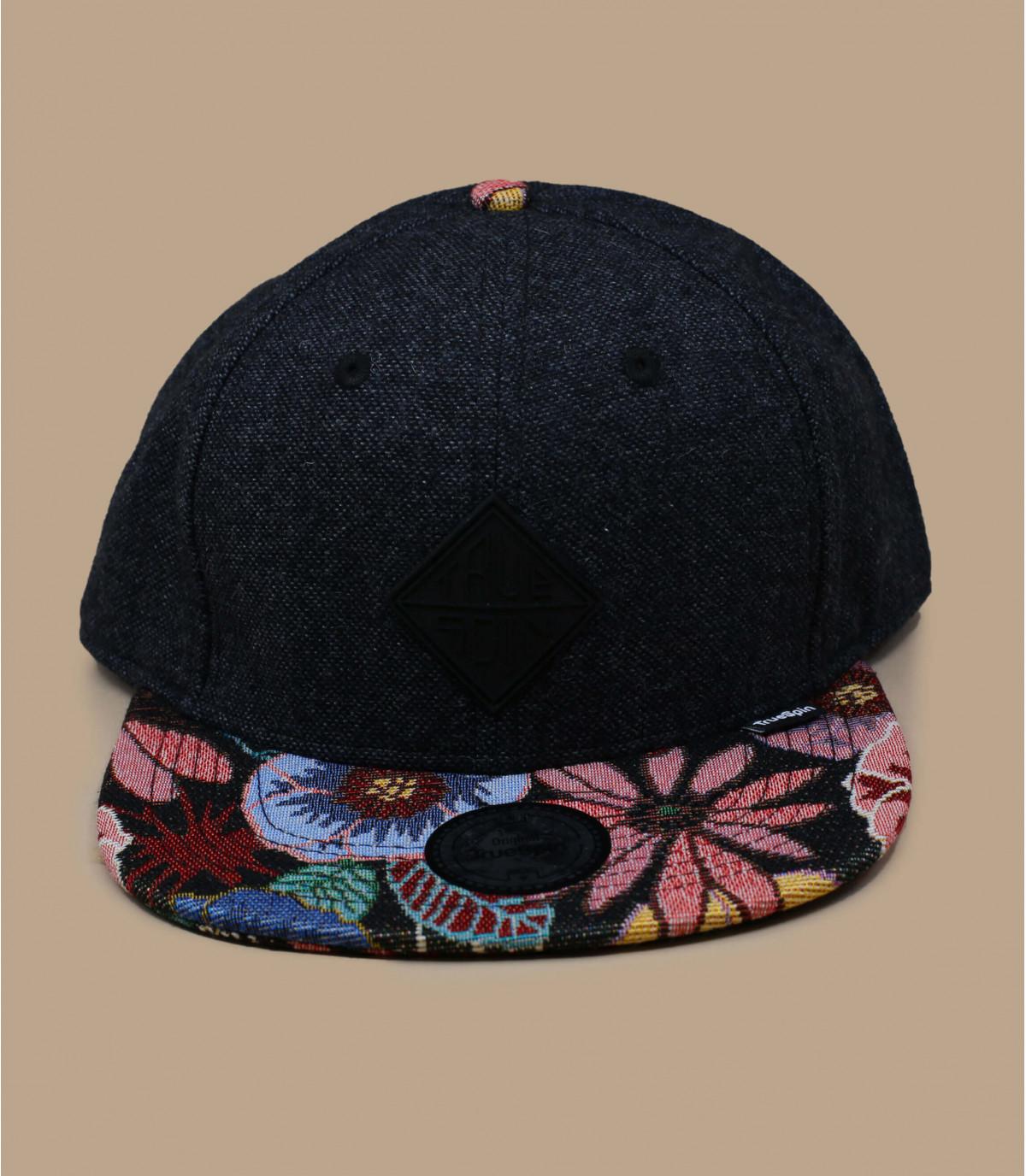snapback noir visière fleurs
