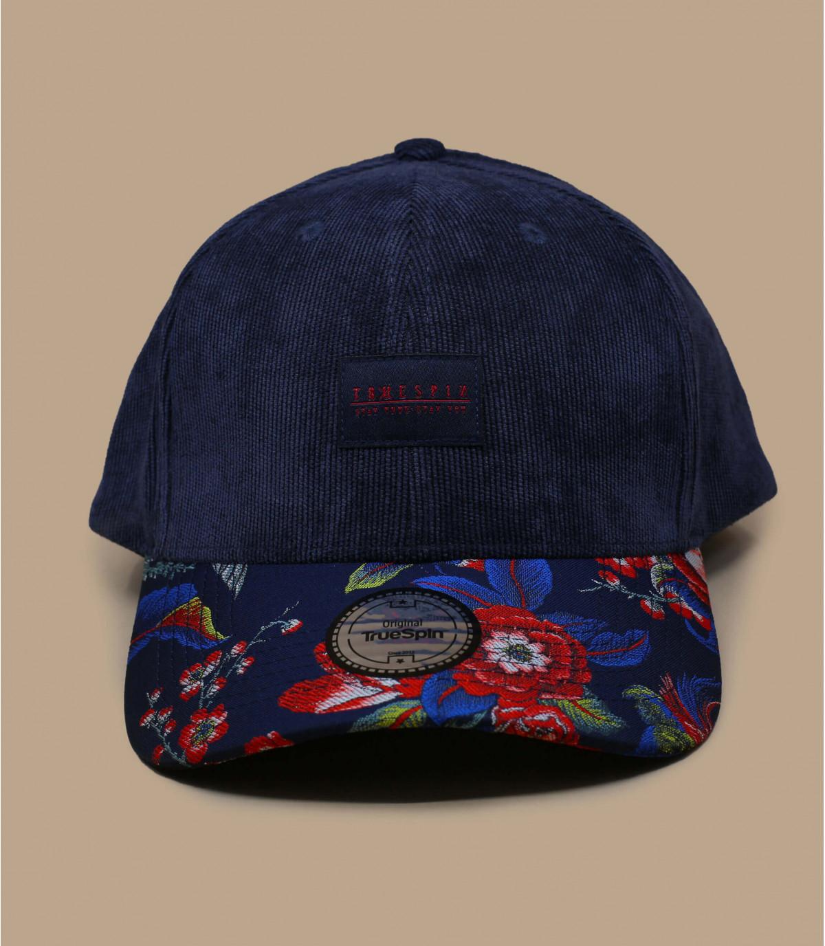 casquette velours bleu fleurs