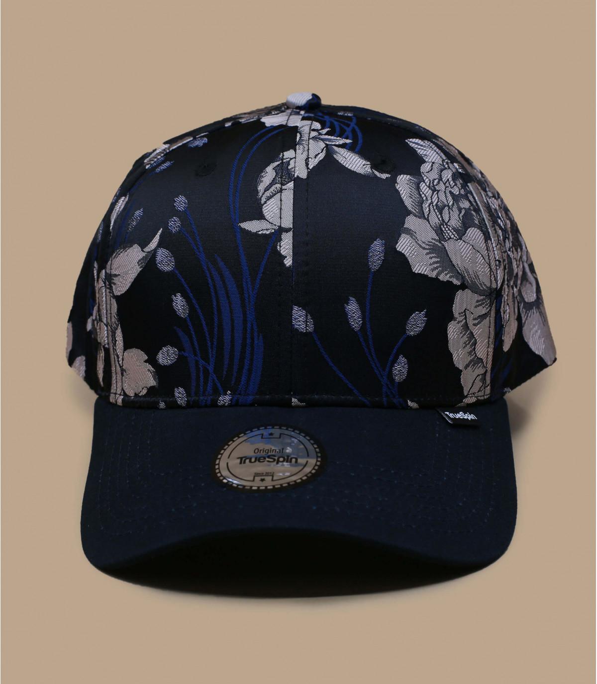 casquette bleu fleurs