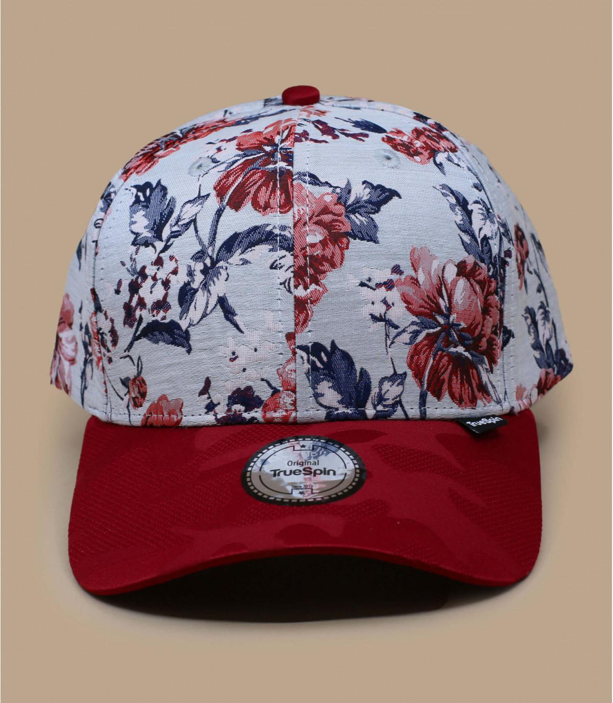 casquette fleurs rouge