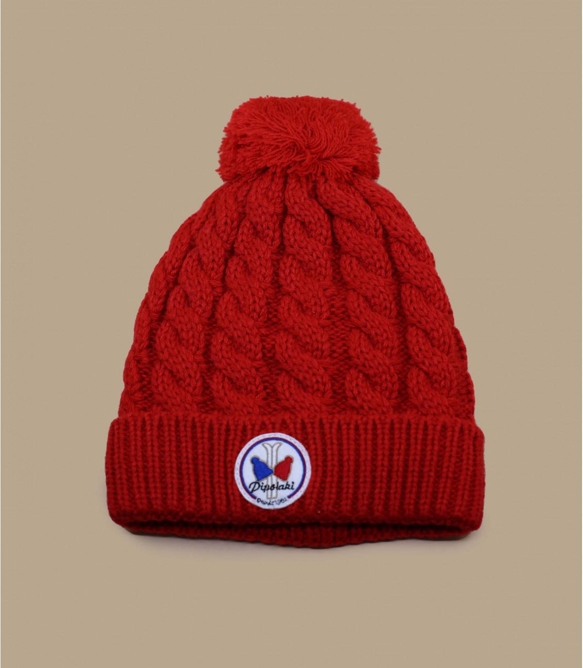 Bonnet pompon rouge pipolaki. Détails Gstaad rouge wm , image 1