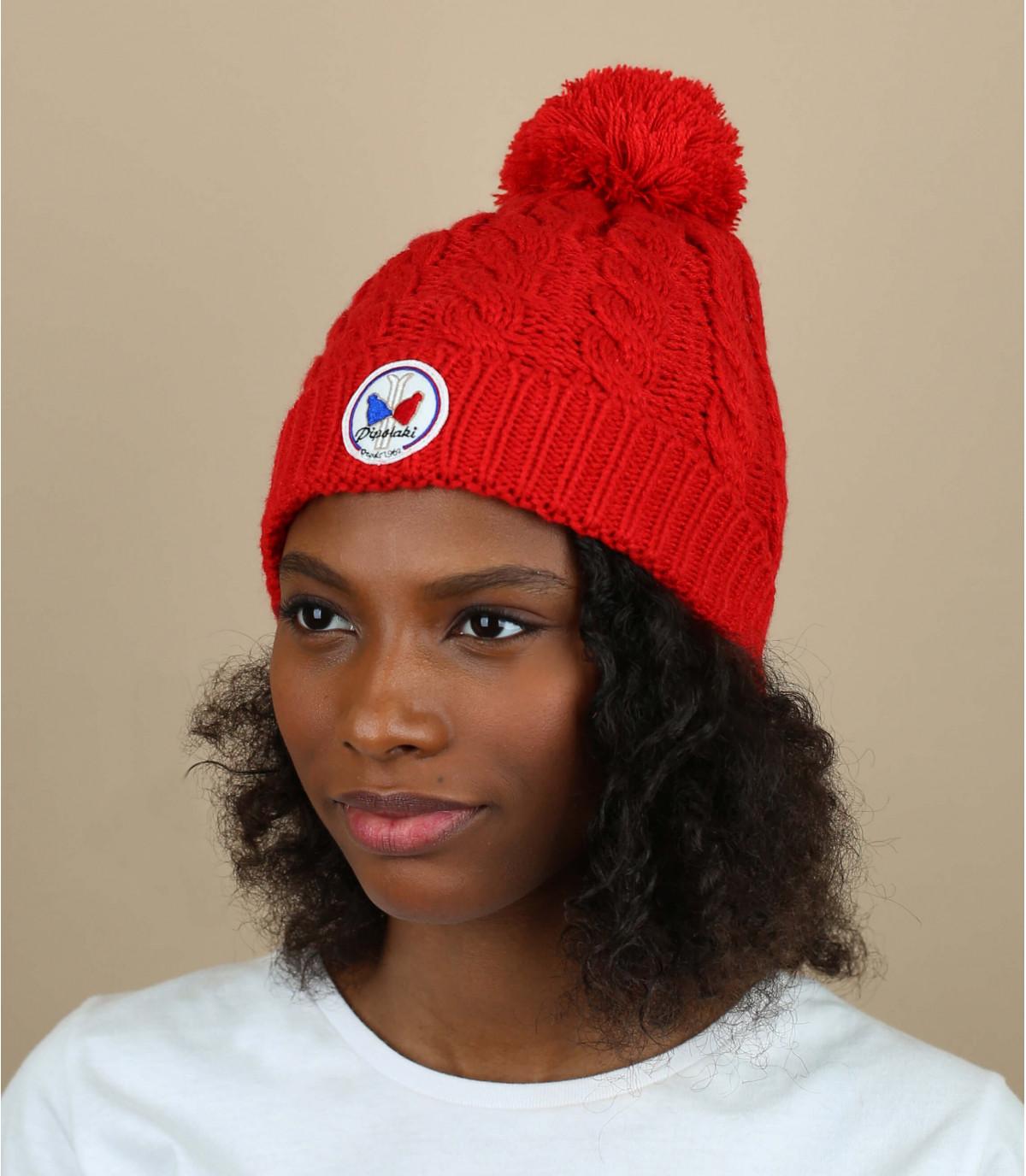 Bonnet pompon rouge pipolaki