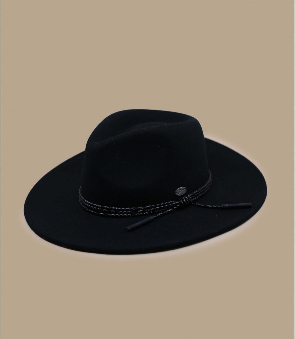 chapeau noir feutre large bord