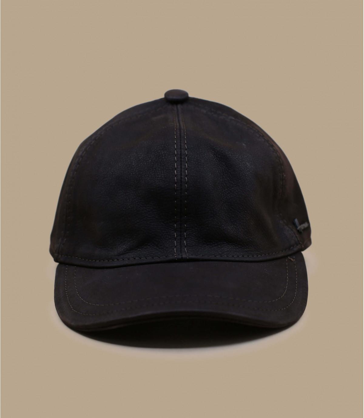 casquette curve cuir marron