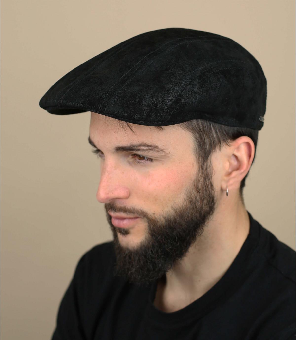 béret cuir noir Stetson