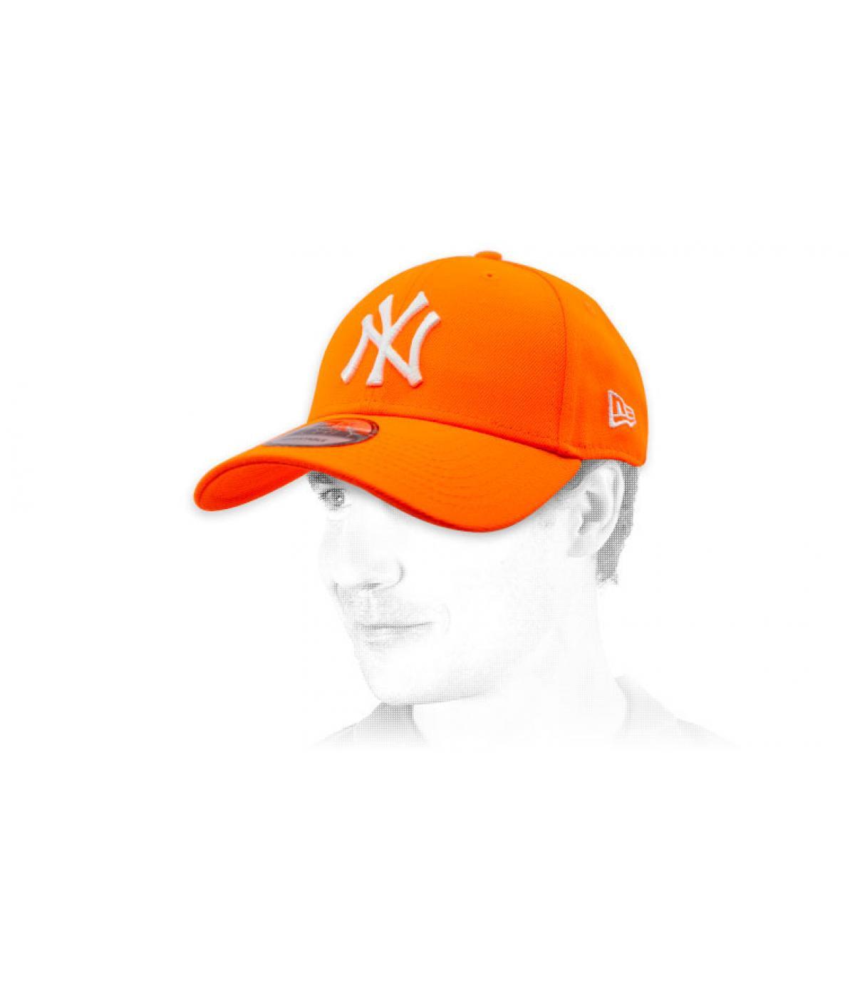 Casquette NY orange fluo