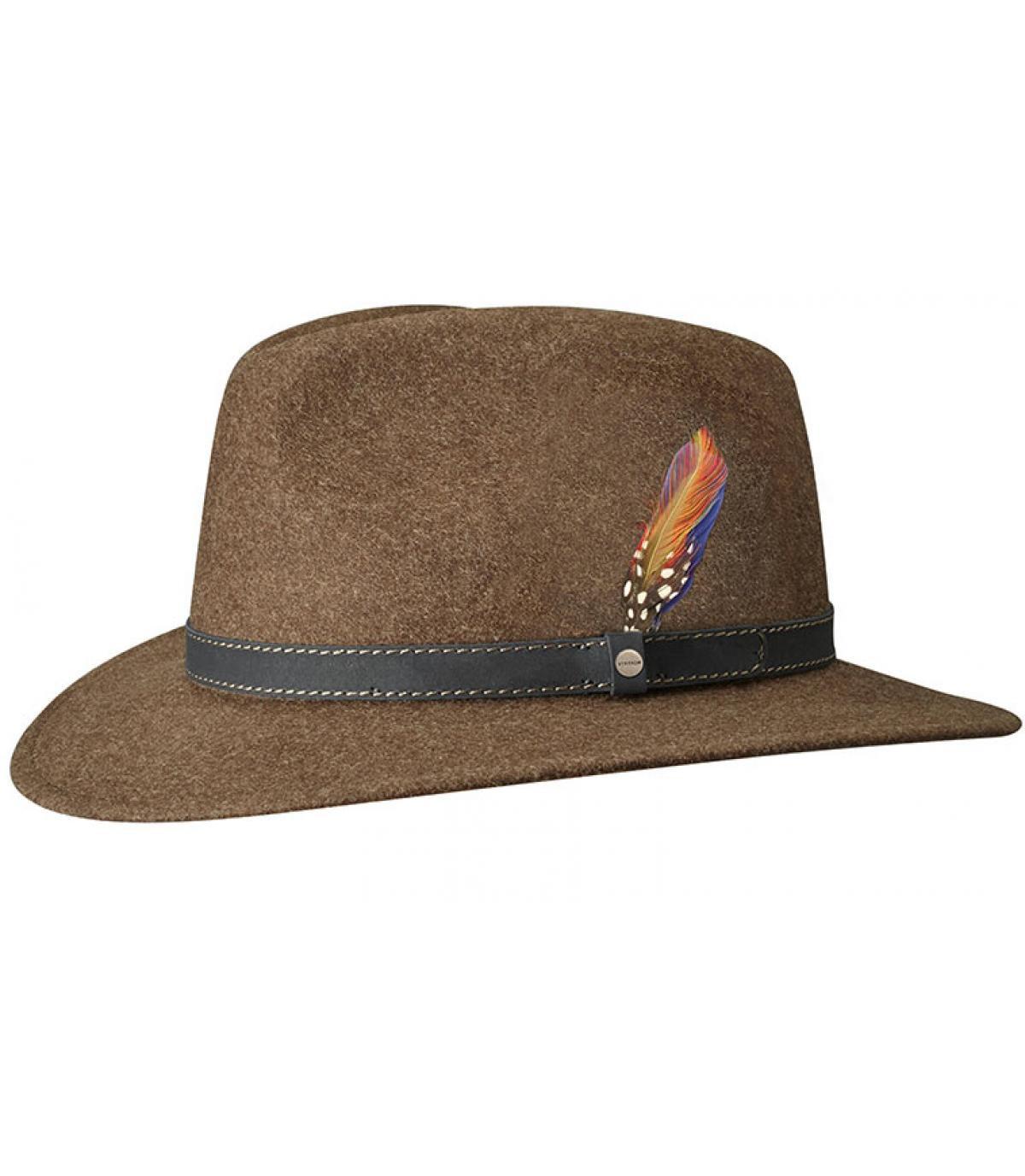 chapeau feutre de laine marron