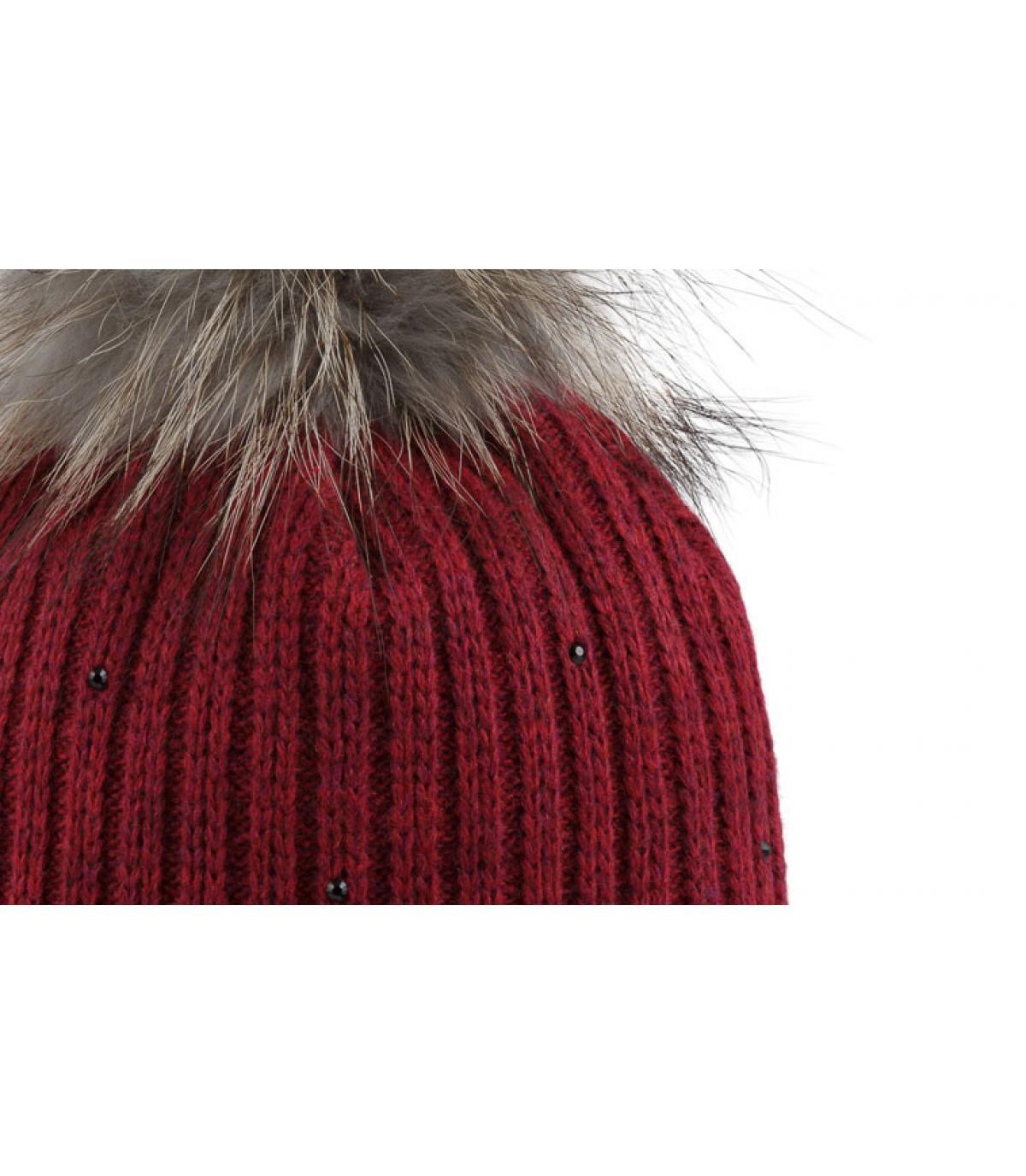 Bonnet rouge pompon fourrure merry bordeaux par pipolaki - Chez pompon bordeaux ...