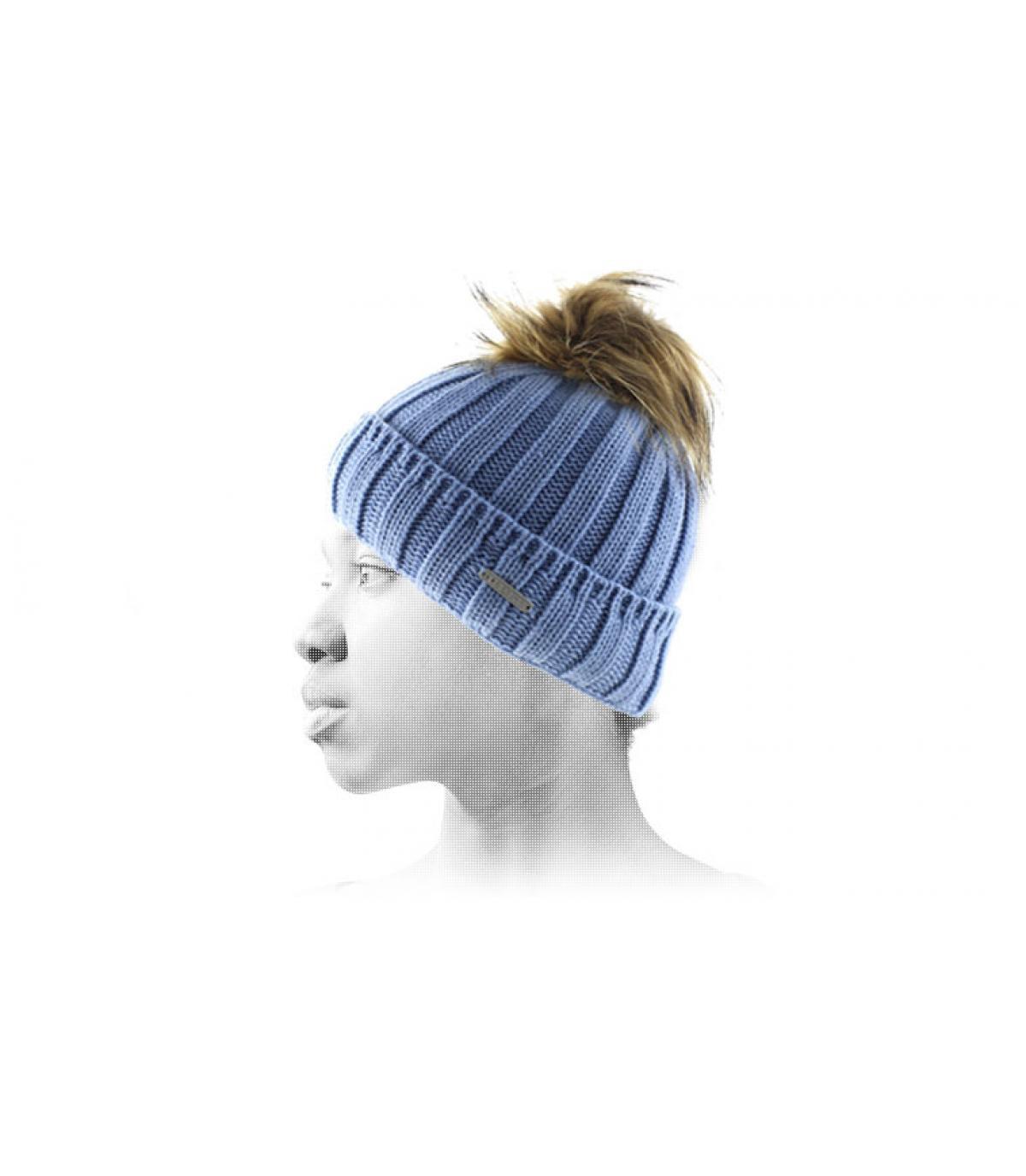 Bonnet bleu gros pompon