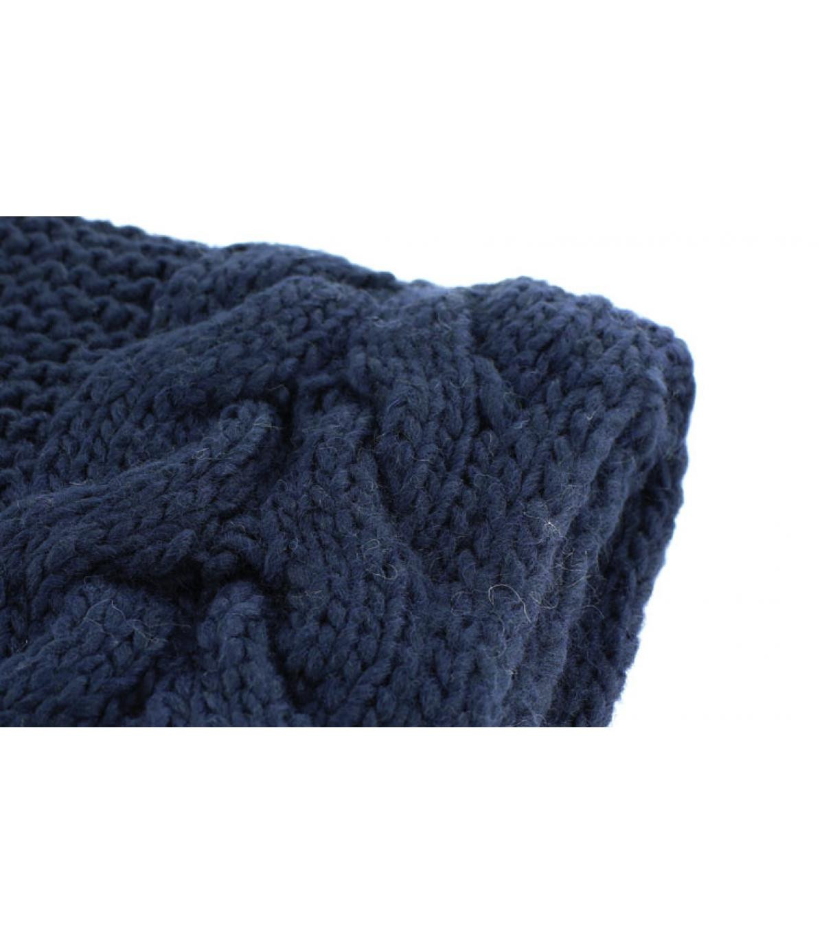 Echarpe franges bleu marine