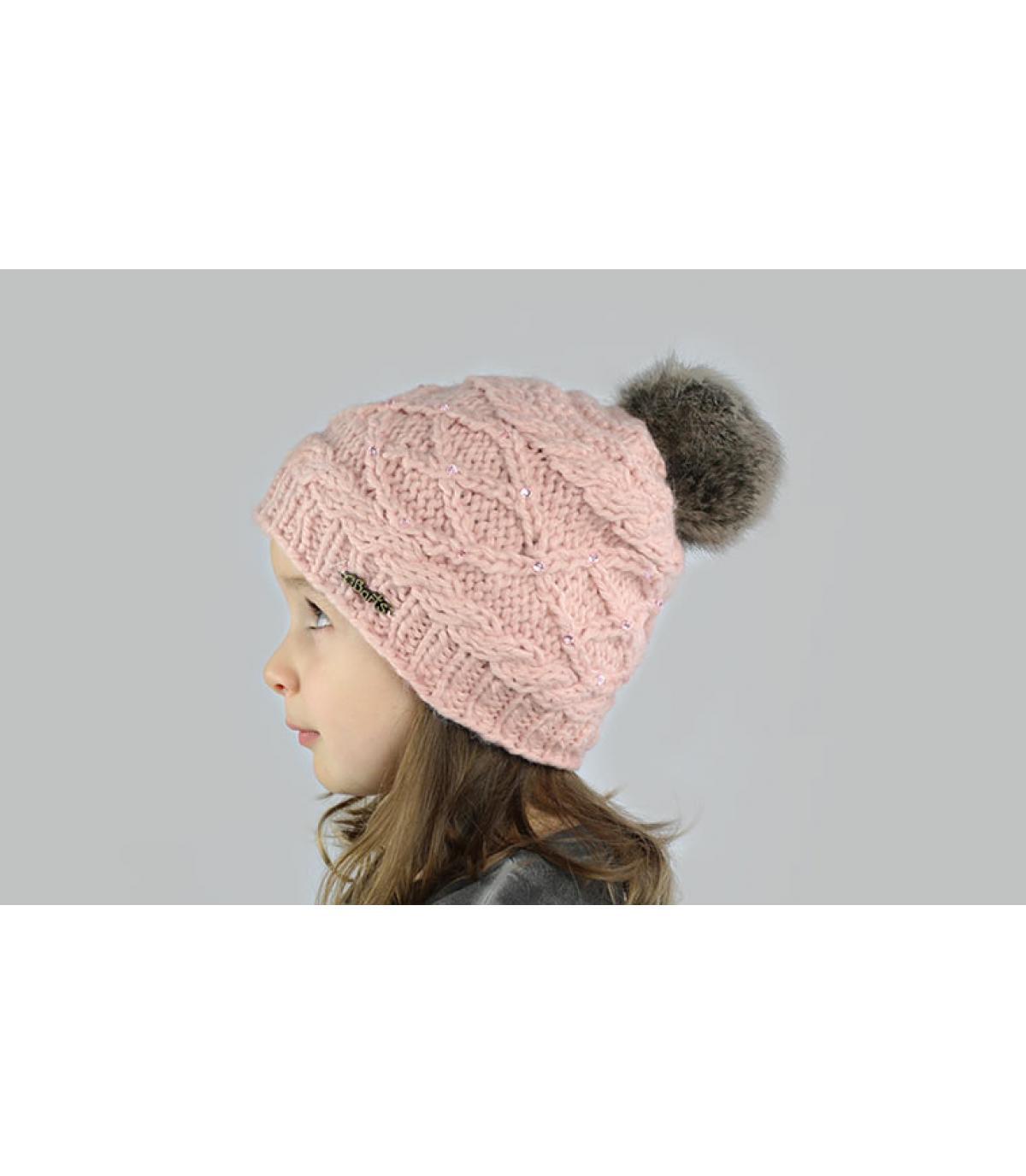 Bonnet fille pompon rose