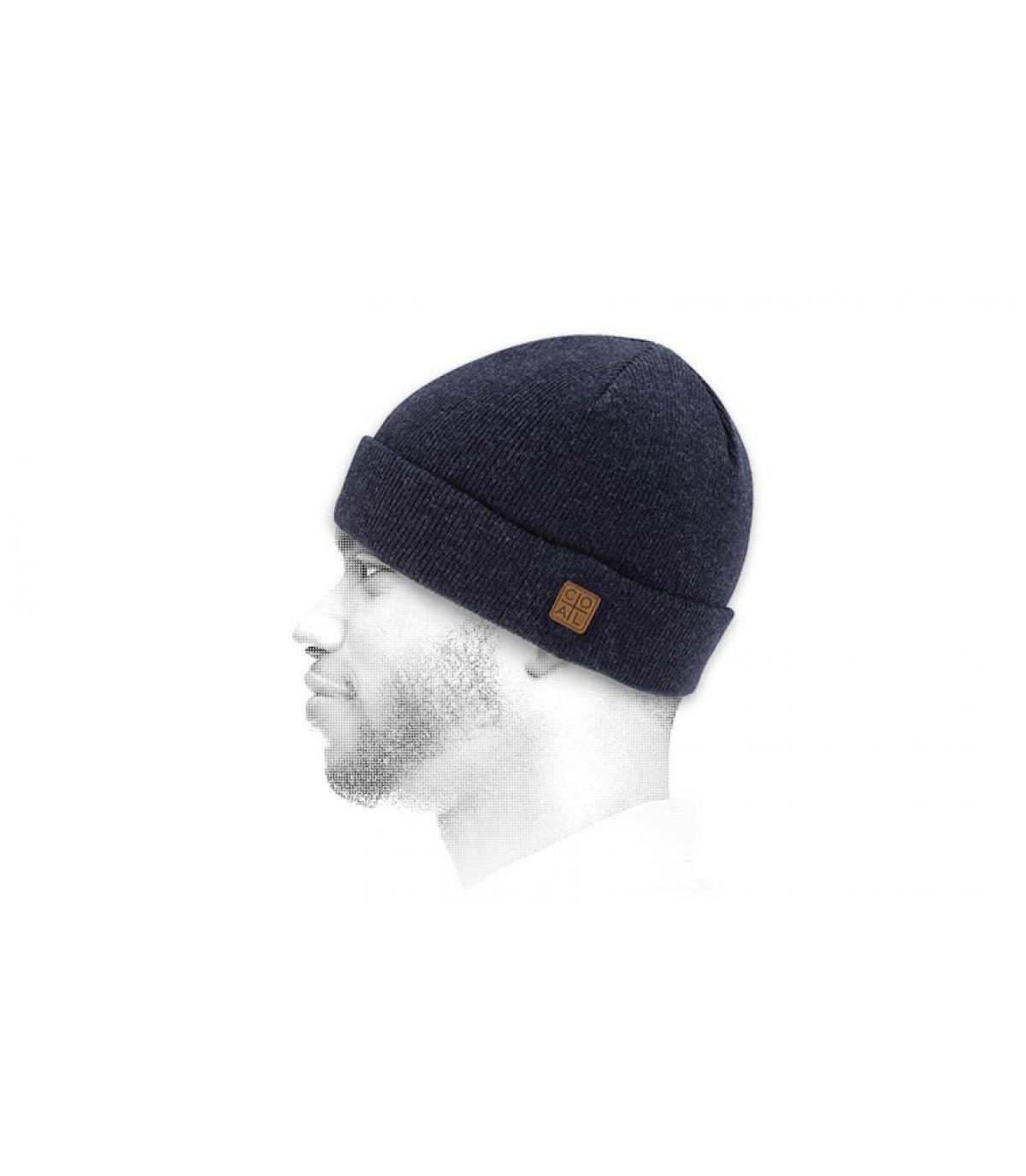 bonnet revers bleu marine chiné