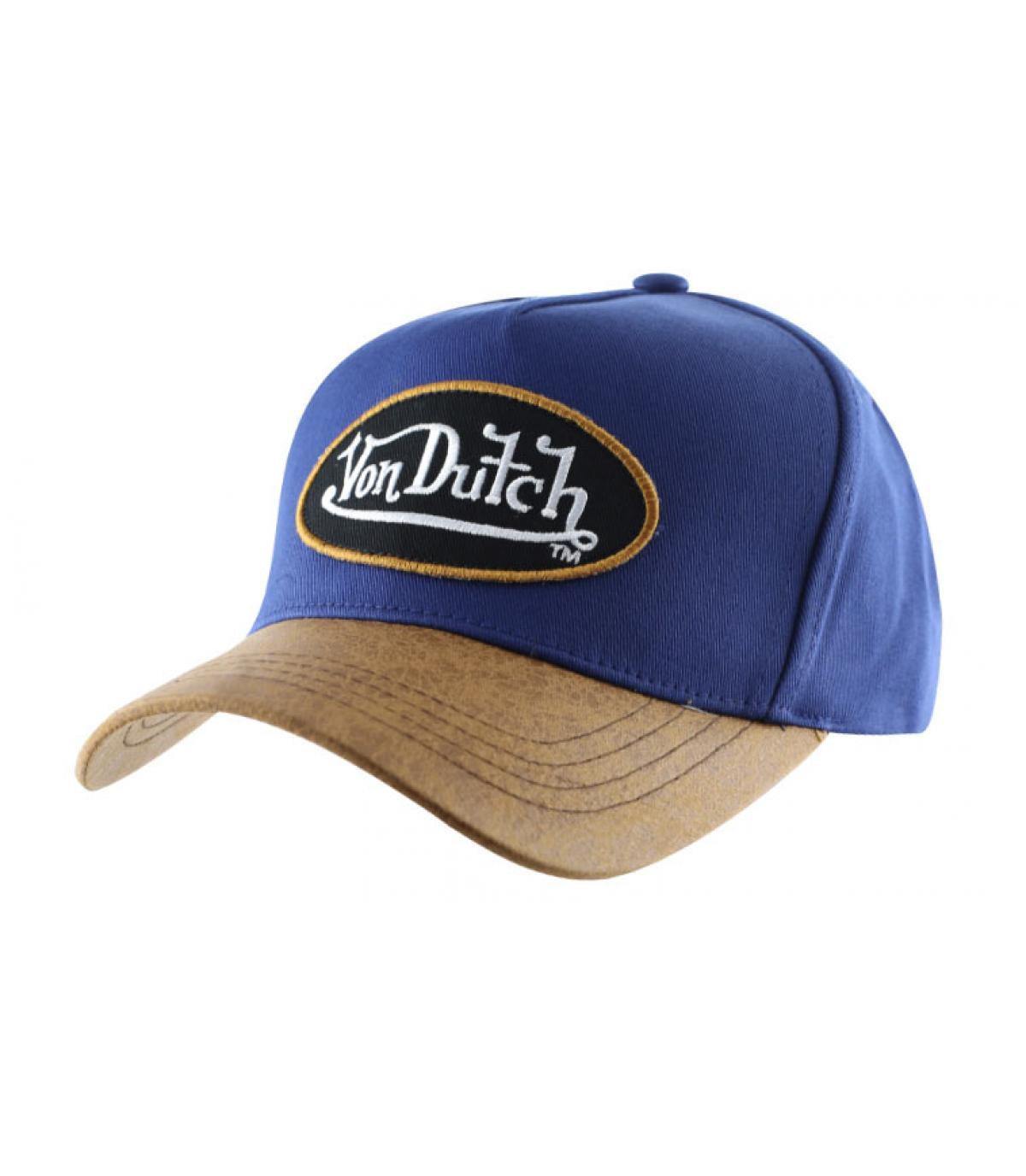 Casquette Von Dutch bleue visière cuir.