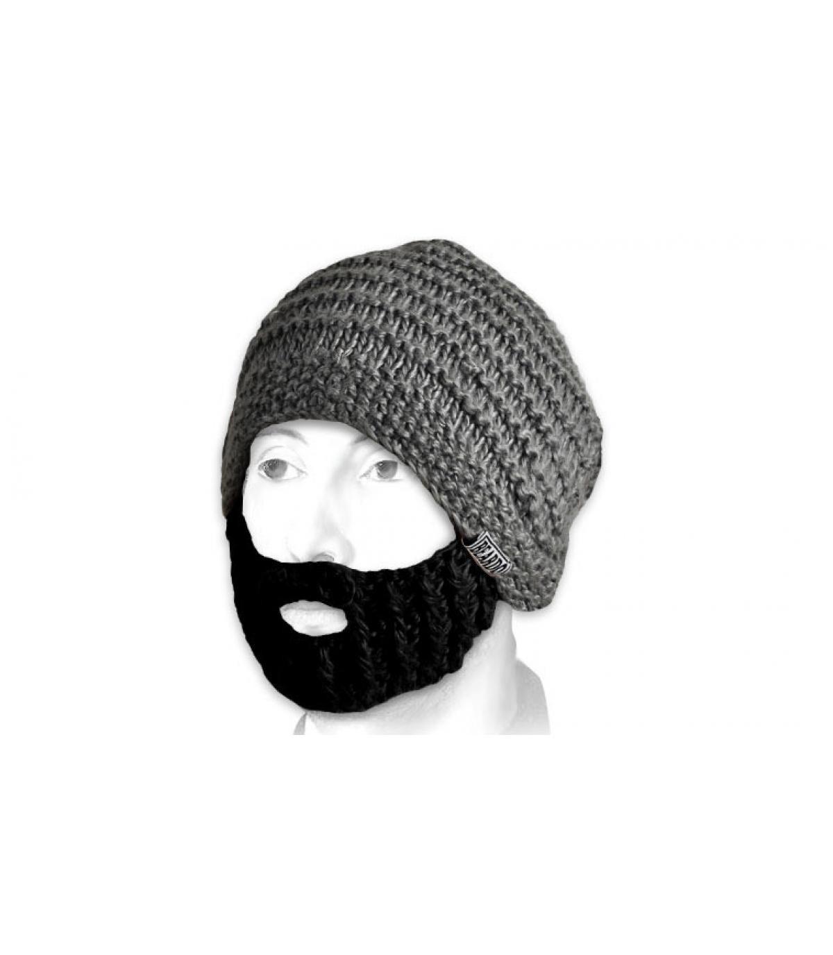 Bonnet barbe gris noir