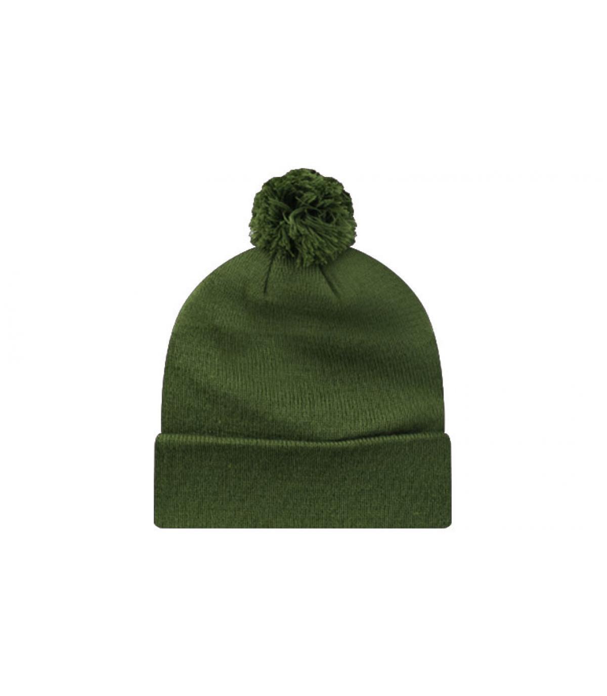 Bonnet pompon blank moss green