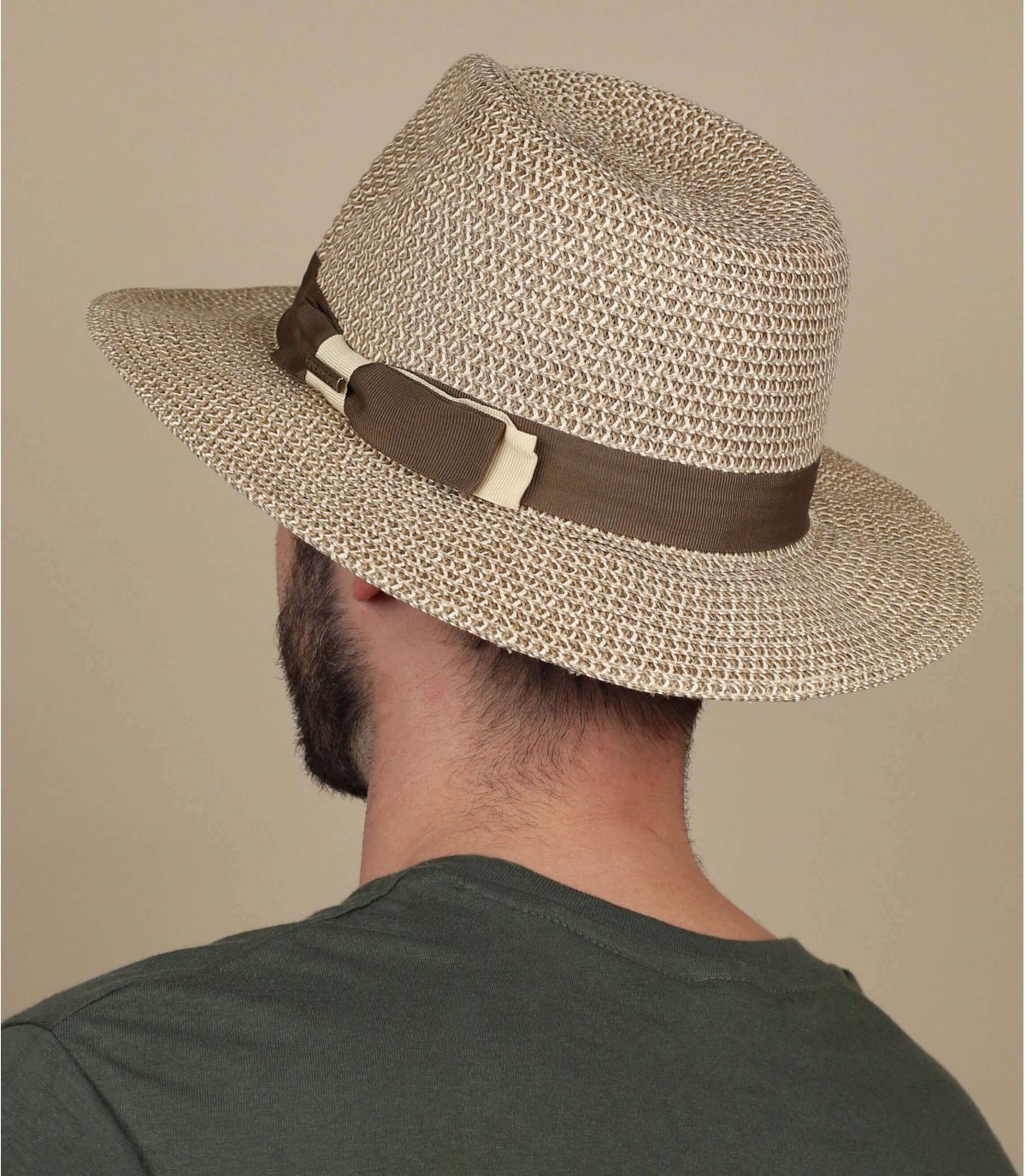 chapeau paille large bords galon